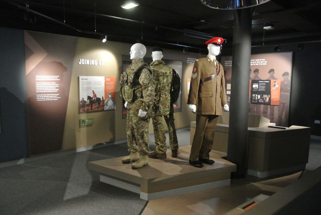 The Light Dragoons military uniforms on display at the the Discovery Museum