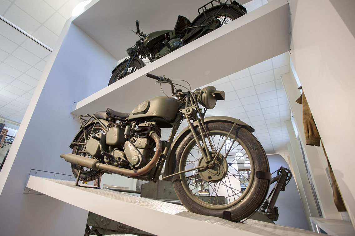 Military motorbikes on display to visitors at the Reme Museum