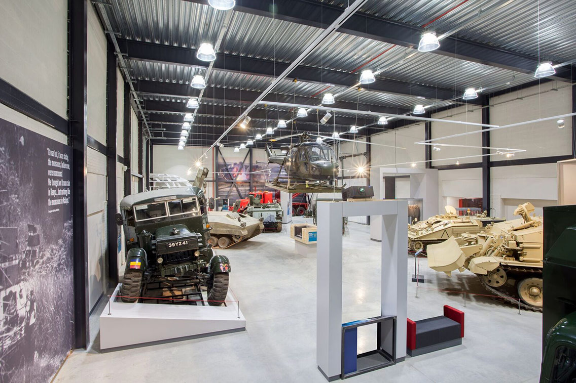 A tank, helicopter and other mechanised military vehicles on show at the Reme Museum