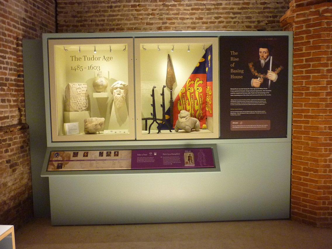 Museum exhibits on show to visitors describing the Tudor period and rise of Basing House
