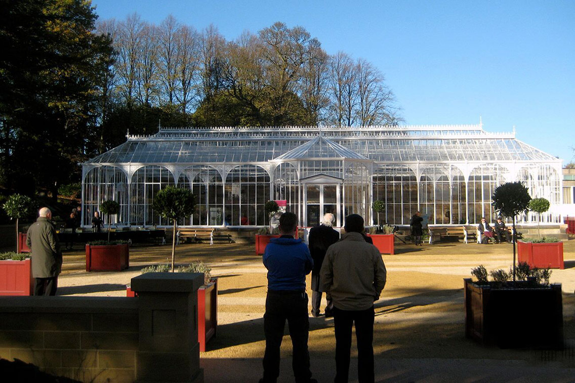 The fully restored iron and glass Victorian conservatory at Wentworth Castle Gardens